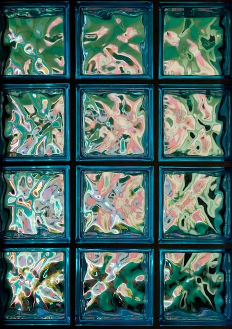 Wildly colorful glass block window
